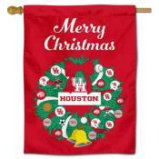 Houston Cougars Christmas Holiday House Flag