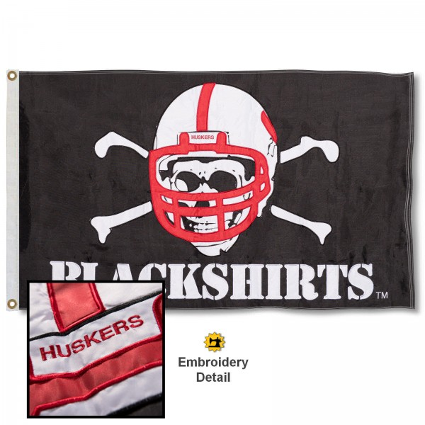 Huskers Blackshirts Appliqued Nylon Flag