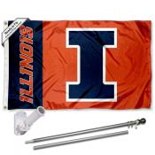 Illinois Fighting Illini Flag and Bracket Flagpole Set