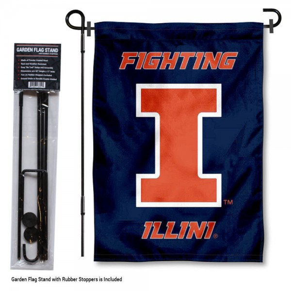 Illinois Fighting Illini Garden Flag and Holder