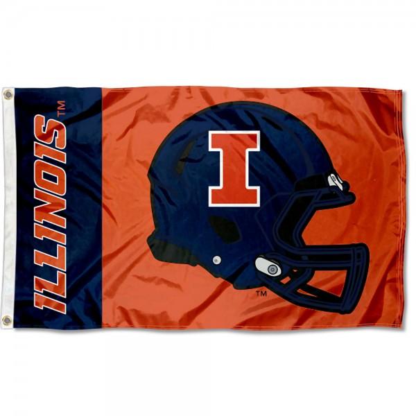 Illinois Fighting Illini Helmet Flag