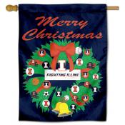 Illinois Fighting Illini Holiday House Flag