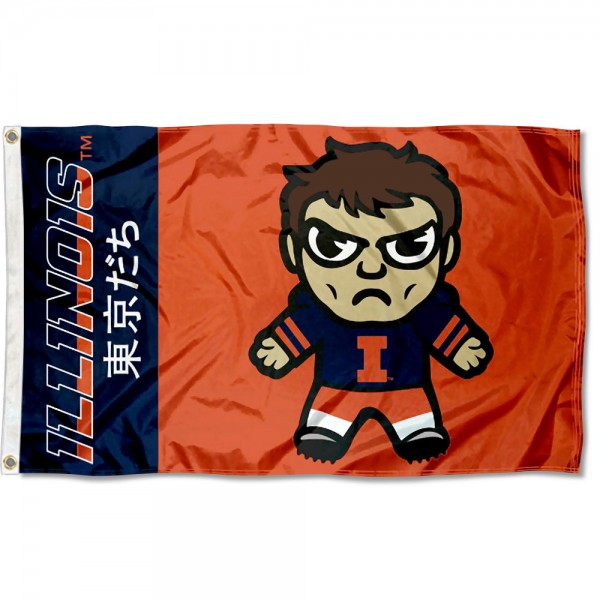 Illinois Fighting Illini Tokyodachi Cartoon Mascot Flag