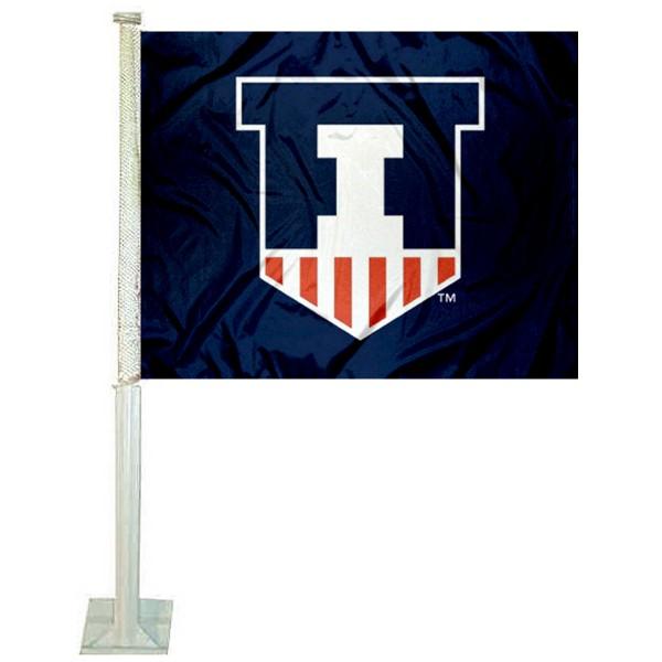 Illinois Fighting Illini Victory Badge Car Flag