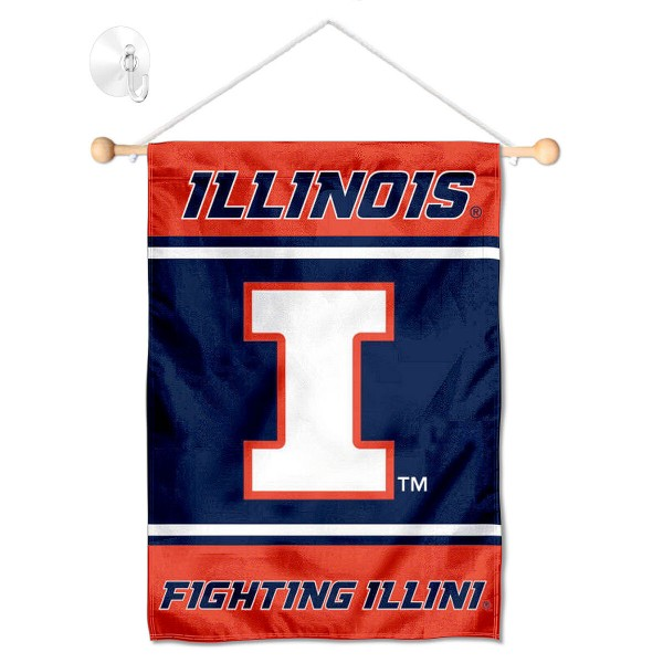 Illinois Fighting Illini Window Hanging Banner with Suction Cup