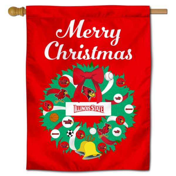 Illinois State Redbirds Christmas Holiday House Flag