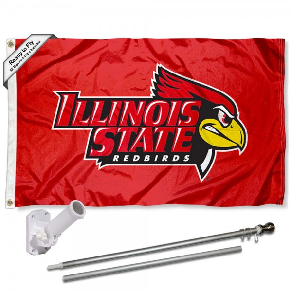 Illinois State University 3x5 Flag and Bracket Flagpole Set