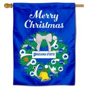 Indiana State Sycamores Christmas Holiday House Flag