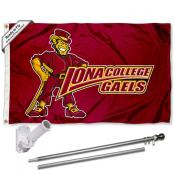 Iona College Logo Flag and Bracket Flagpole Kit