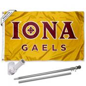 Iona Gaels Gold Flag and Bracket Flagpole Set