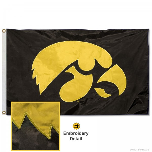 Iowa Hawkeyes Appliqued Nylon Flag