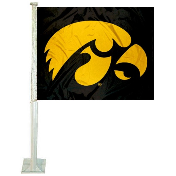 Iowa Hawkeyes Black Car Flag