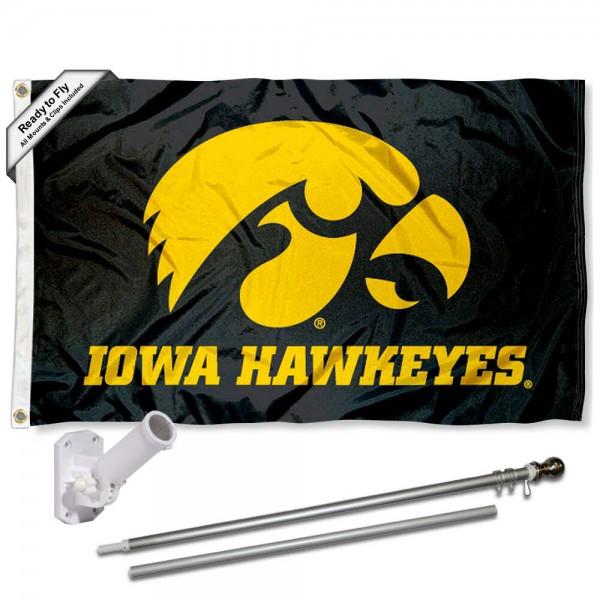 Iowa Hawkeyes Black Logo Flag and Bracket Flagpole Set