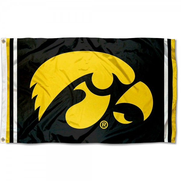 Iowa Hawkeyes Black Stripes Flag