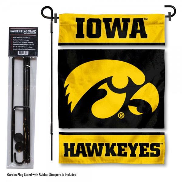 Iowa Hawkeyes Garden Flag and Holder