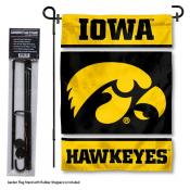 Iowa Hawkeyes Garden Flag and Holder
