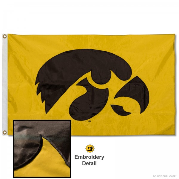 Iowa Hawkeyes Gold Appliqued Nylon Flag