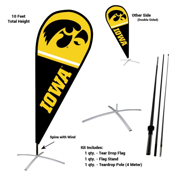 Iowa Hawkeyes Teardrop Flag and Stand Kit