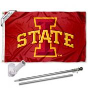 Iowa State Flag and Bracket Flagpole Set