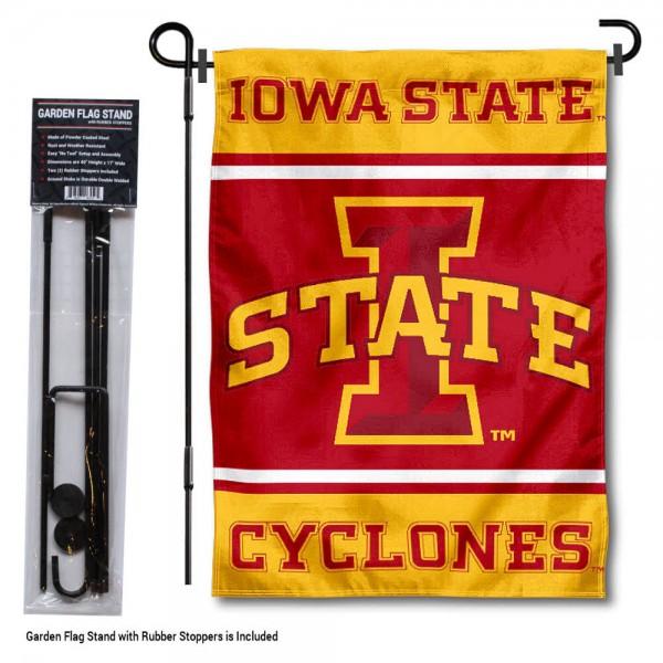 Iowa State University Garden Flag and Yard Pole Holder Set