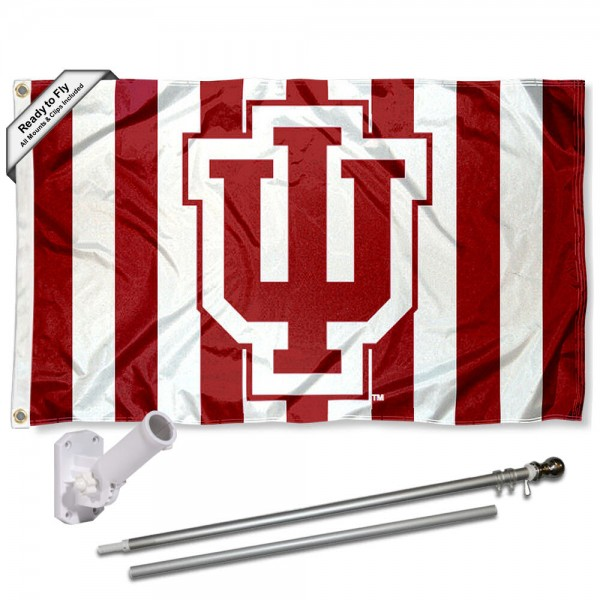 IU Hoosiers Candy Stripe Pants Flag and Bracket Flagpole Set