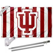IU Hoosiers Candy Stripe Pants Flag and Bracket Flagpole Set