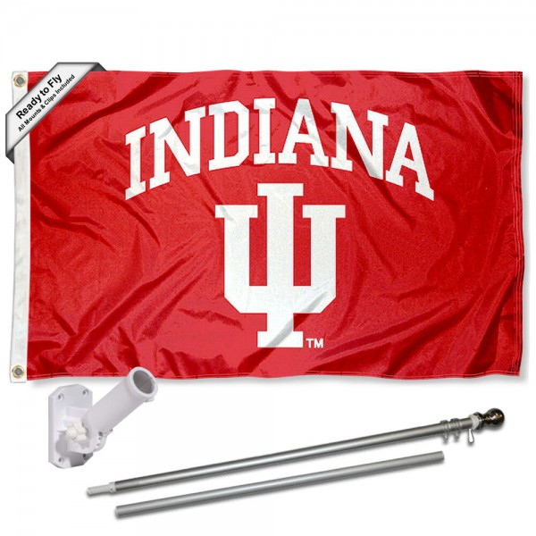 IU Hoosiers Flag and Bracket Flagpole Kit