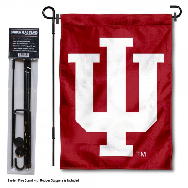 IU Hoosiers Garden Flag and Holder