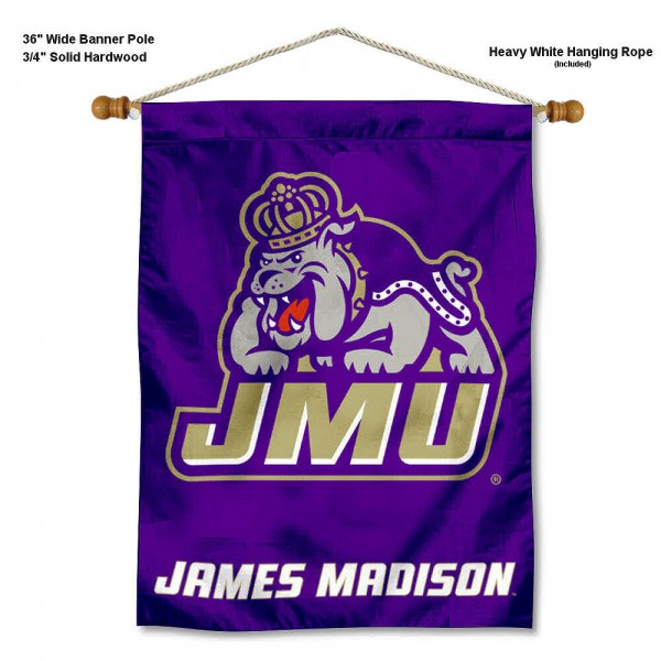 James Madison Dukes Banner with Pole