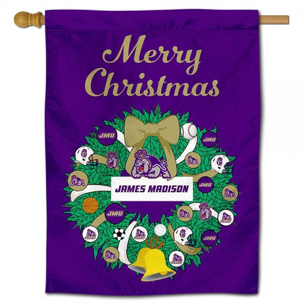 James Madison Dukes Christmas Holiday House Flag