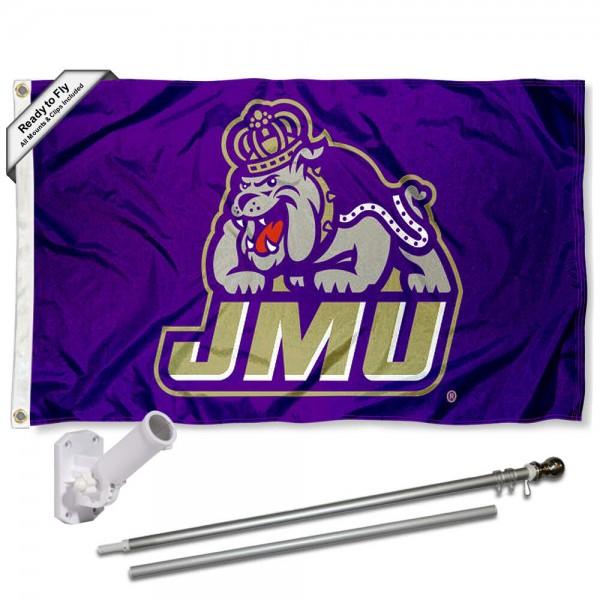 James Madison University 3x5 Flag and Bracket Flagpole Set