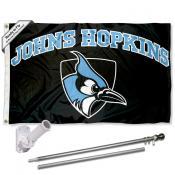 JHU Blue Jays Flag and Bracket Flagpole Kit