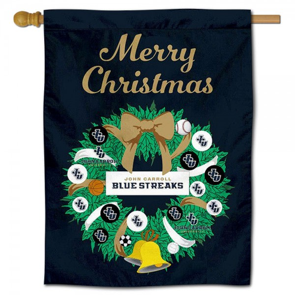 John Carroll Blue Streaks Christmas Holiday House Flag