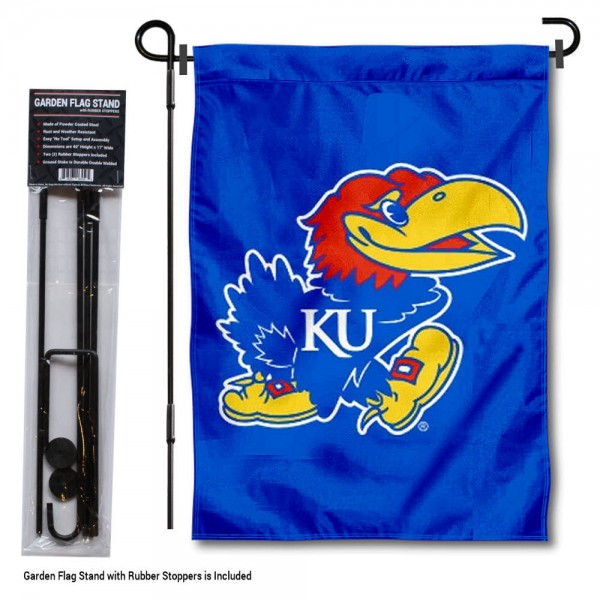 Kansas Jayhawks Garden Flag and Holder