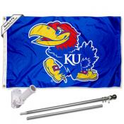 Kansas KU Jayhawks Flag and Bracket Flagpole Set
