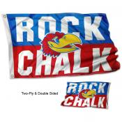 Kansas KU Jayhawks ROCK CHALK Flag