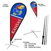 Kansas KU Jayhawks Teardrop Flag and Stand Kit