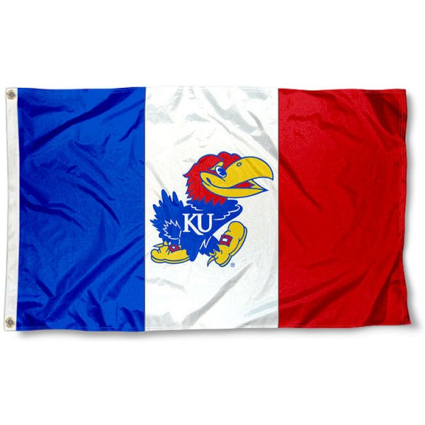 Kansas KU Jayhawks Three Panel 3x5 Flag