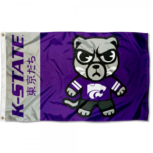 Kansas State Wildcats Tokyodachi Cartoon Mascot Flag