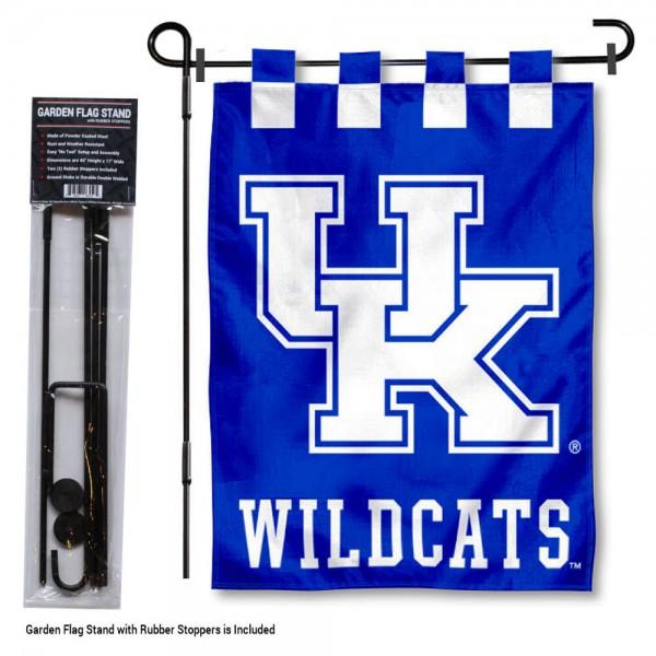 Kentucky UK Wildcats Garden Flag and Holder