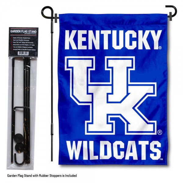 Kentucky UK Wildcats Wordmark Garden Flag and Holder