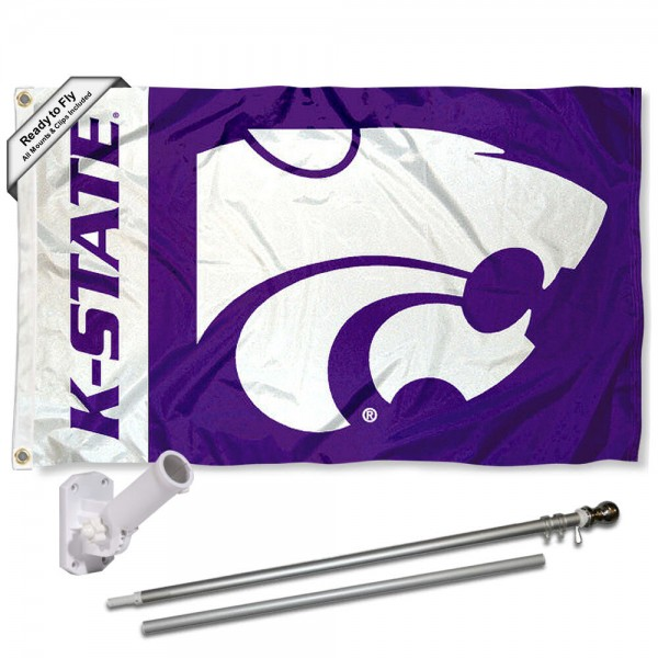 KSU Wildcats Flag and Bracket Flagpole Set