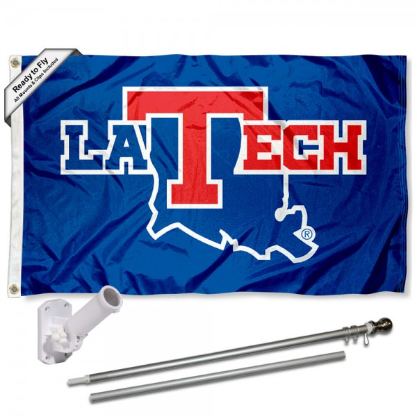 La Tech Bulldogs Flag and Bracket Flagpole Set