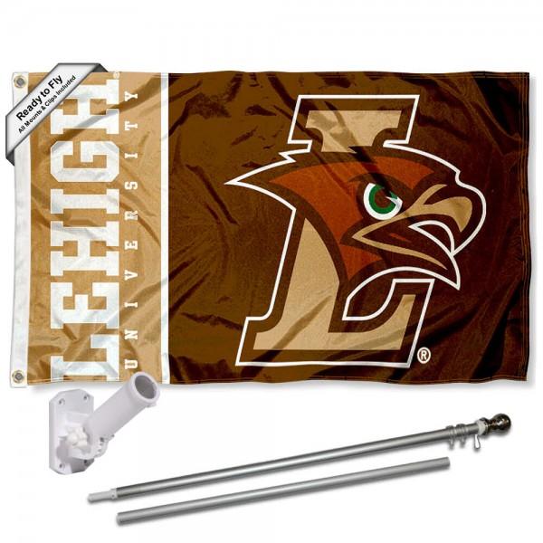 Lehigh Mountain Hawks Flag and Bracket Flagpole Kit