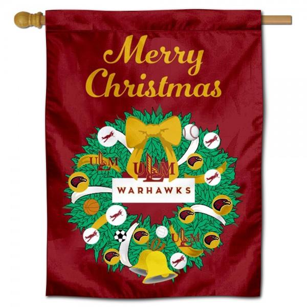 Louisiana Monroe Warhawks Christmas Holiday House Flag