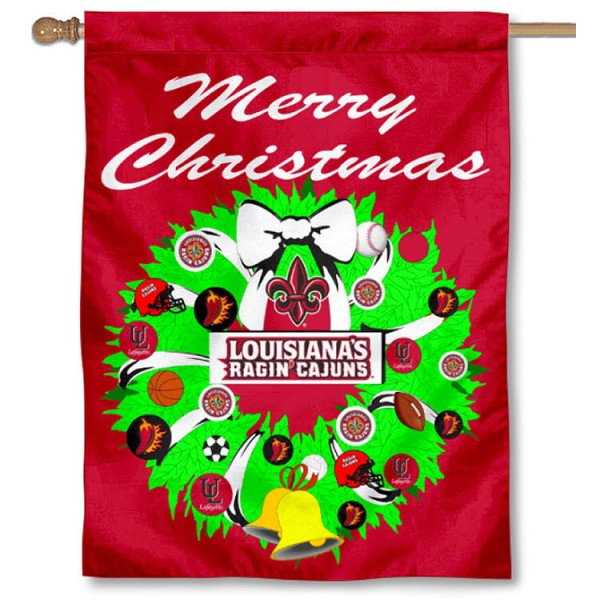 Louisiana Ragin Cajuns Holiday Flag