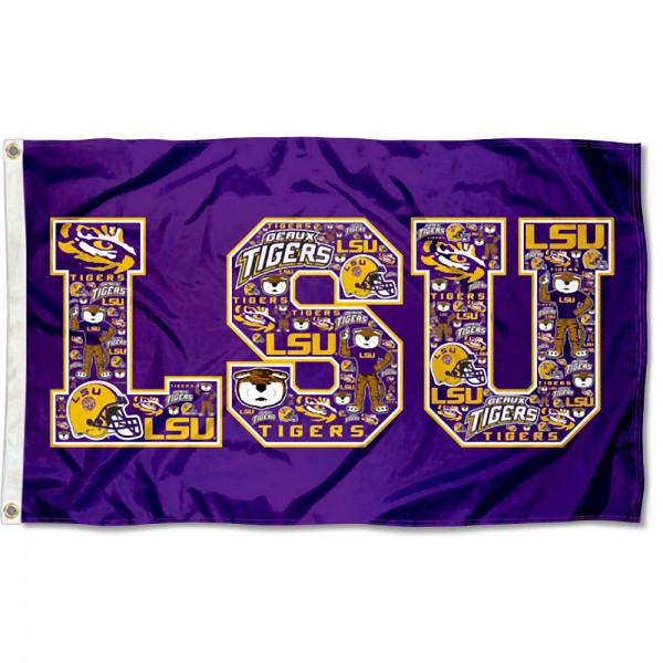 Louisiana State LSU Tigers Collage 3x5 Foot Flag