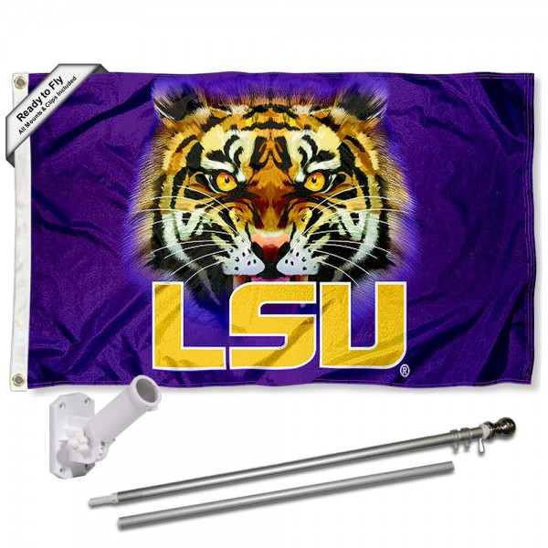 Louisiana State Tiger Eye Flag and Bracket Flagpole Kit
