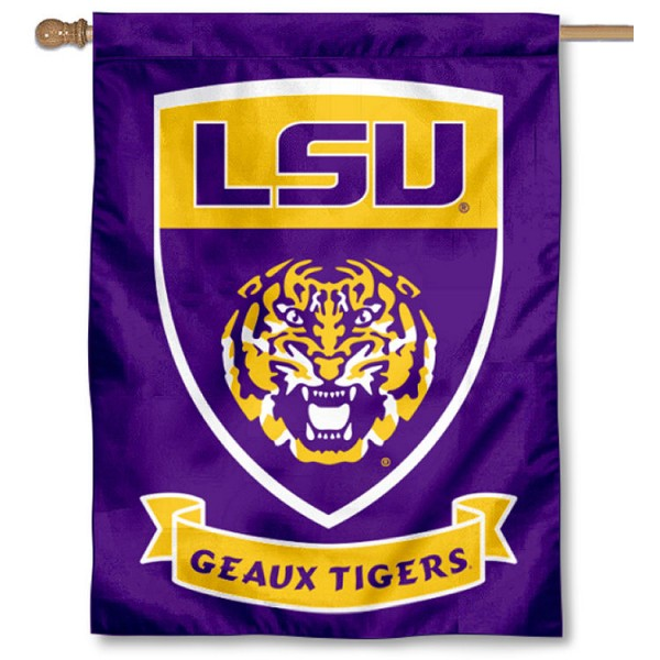 Louisiana State Tigers Shield Banner Flag