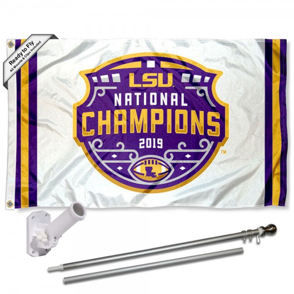 Louisiana State University 2019 NCAA Football National Champions Flag and Bracket Flagpole Set